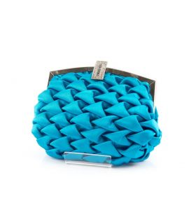 Pepe Moll Turquoise ruched satin small clutch with shoulder strap