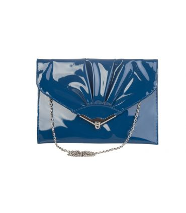 Pepe Moll Oversized Petrol Blue Patent envelope clutch