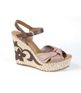 Progetto Taupe leather wedge sandal