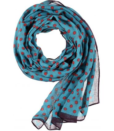 Passigatti Teal Blue scarf with rust polka dot