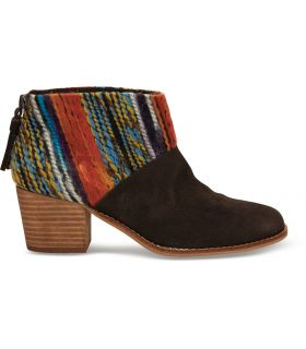 Chocolate suede multi textile Leila Booties by Toms