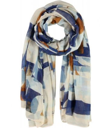 Passigatti Navy, Tan & Cream Patterned Scarf/Wrap