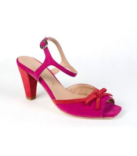 Vanilla Moon pink and coral suede tbar sandal