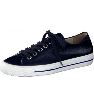 PAUL GREEN Navy leather trainer