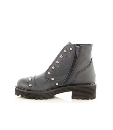 Marian Navy Leather Ankle  boot with stud detail