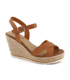 Kinoa Tan crisscross wedge sandal