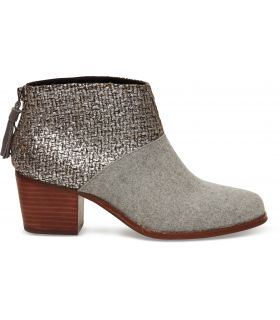 TOMS Grey Felt Shine Bouncle Ankle Leila Boot