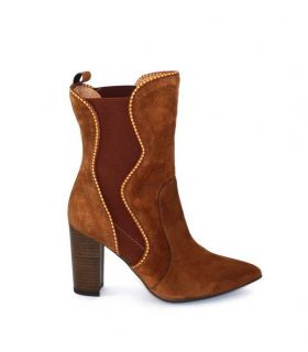 MARIAN Tan suede ankle boot block  high heel
