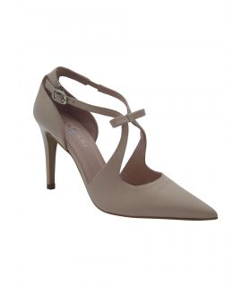 Fabucci Nude leather pointy tbar shoe with bow detail