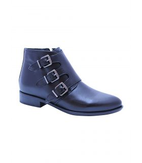 Alpe black leather ankle boot with buckle  detail.