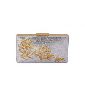 OLGA BERG Tesla Silver Embroidered Box Clutch Bag