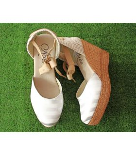 Aedo White and silver stripe espadrille with ankle tie