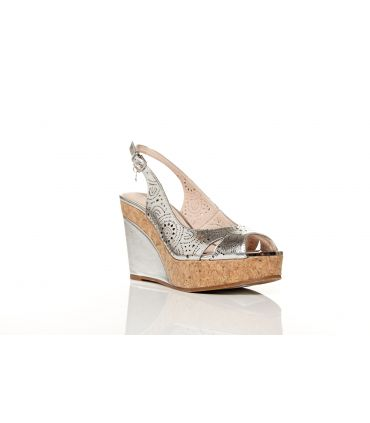 Moda in Pelle silver metallic laser cutout peep toe sling  wedge