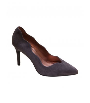 Marian  grey suede scalloped court shoe