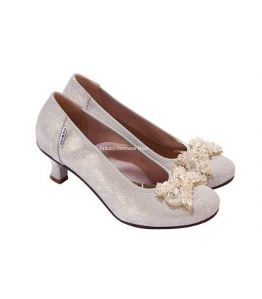 Marco grey silver court with crystal bow detail Lucy