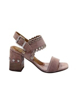 ALPE  Blush Suede Block Heeled Sandal with rivet detail